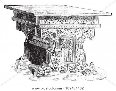 Table of fifteenth century, vintage engraved illustration. Industrial encyclopedia E.-O. Lami - 1875.