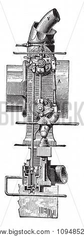 Distributors mechanism controlling the intake and exhaust of Corliss machine, vintage engraved illustration. Industrial encyclopedia E.-O. Lami - 1875.