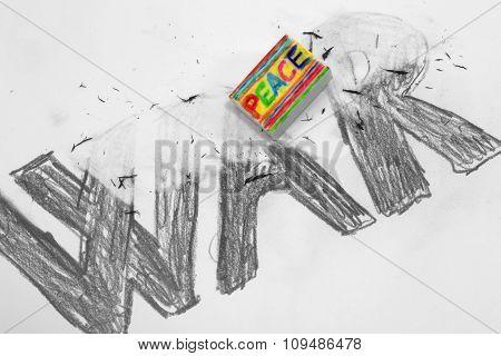 Eraser With Written Peace Deletes The Written War