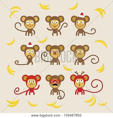 Set of cartoon monkeys.