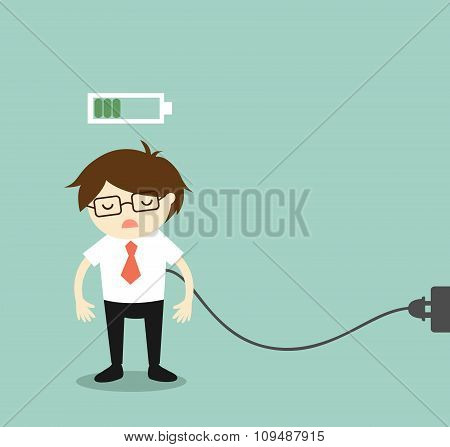 Business concept, Businessman feeling tired and charging battery. Vector illustration.
