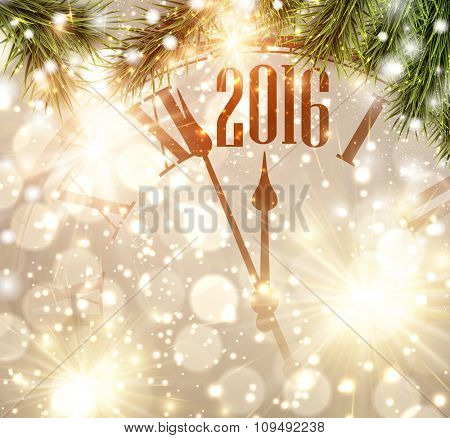 2016 New Year background with clock and fir branches. Vector illustration.