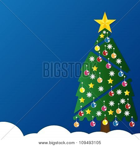 Christmas Tree With Colorful Ornaments And Glod Star On White Snow In Night Light Blue Background. V
