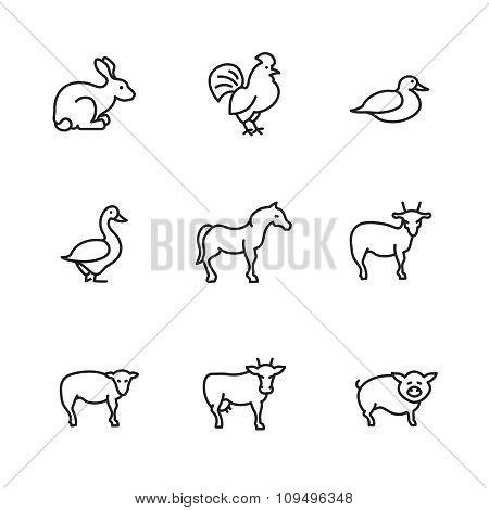 Farm animals line vector icons set