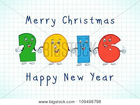2016 celebrating colored animated numbers. 1, 2, 6, 16, 26, 12, 22, 11, 21, 61, 21, 10, 20, 60 years old for kids or friends, personified digits. Celebrating congratulating or kid's greetings. poster