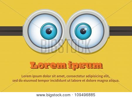 Cartoon two eyes glasses or goggles. Vector character
