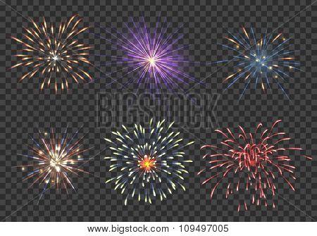 Vector fireworks set