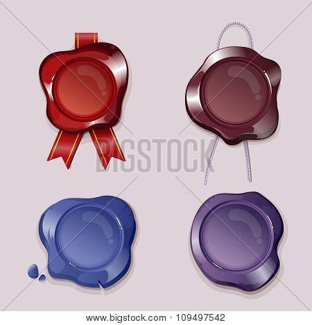 Wax seals vector set in cartoon style