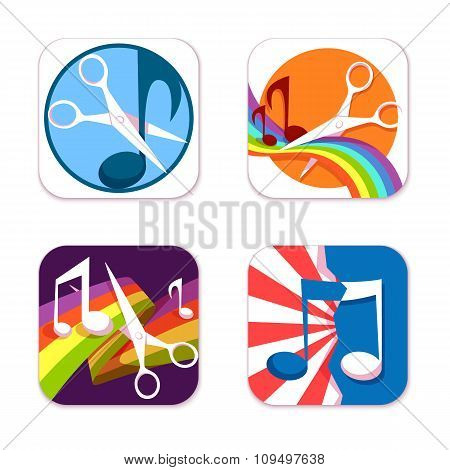 Vector set of flat icons for music cutter application