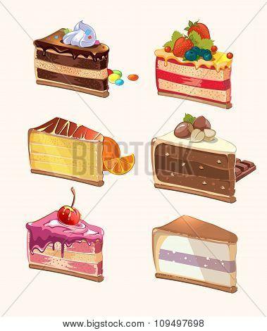 Cartoon cake pieces. Vector illustration