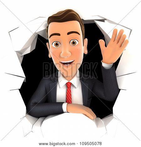 3d businessman waving hand through hole in wall