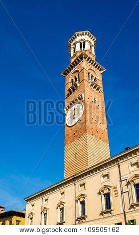 Clock tower of Palazzo della Ragione in Verona - Italy poster