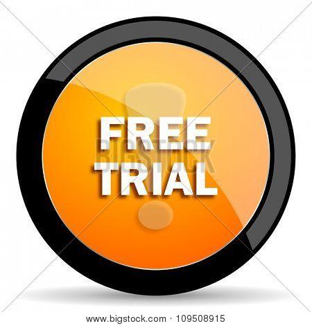 free trial orange icon poster