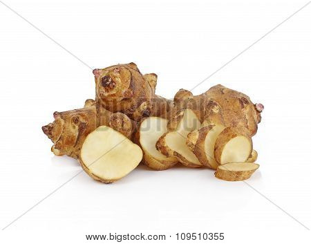 Jerusalem Artichoke On White Background