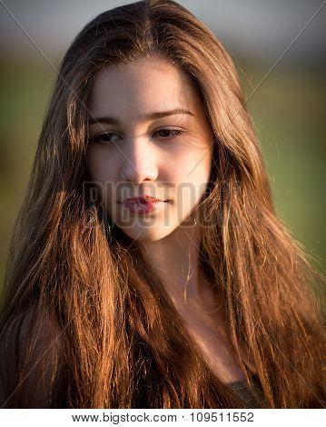 Beautiful Teenage Ginger Girl Outside