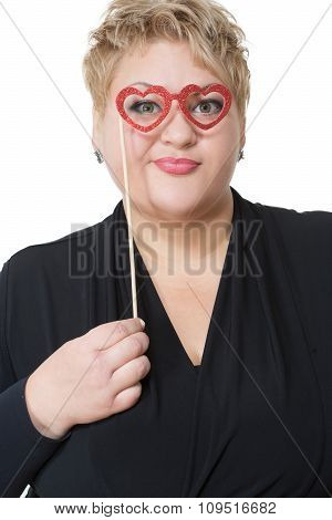 fat woman in love. Isolated on white background. Heart Shaped Glasses