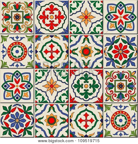 Gorgeous seamless  pattern  white colorful Moroccan, Portuguese  tiles, Azulejo, ornaments.