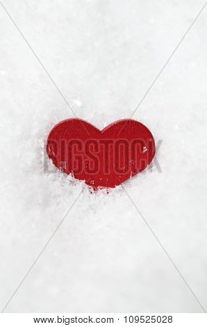 Red Heart In Frosty White Snow