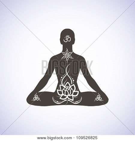 Yoga lotus position, meditation, mindfulness, zen. Vector Linear girl in a circular floral ornament