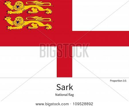National flag of Sark with correct proportions, element, colors