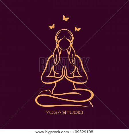 Yoga lotus position, namaste mudra asana, meditation, mindfulness, zen, pilates poses simvols. Vecto
