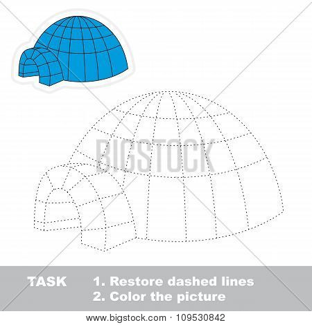 Igloo to be traced. Vector trace game.