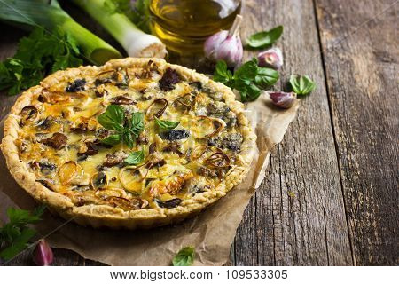 Quiche With Mushrooms, Leek And Cheese