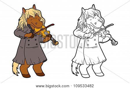 Coloring Book For Children: Horse And Violin