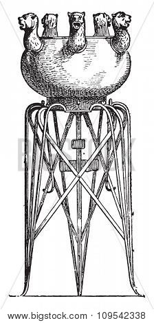 Etruscan tripod, vintage engraved illustration. Private life of Ancient-Antique family-1881.
