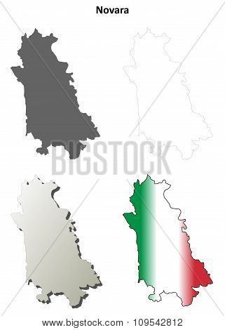 Novara blank detailed outline map set
