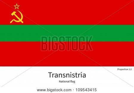 National flag of Transnistria with correct proportions, element, colors for education books and official documentation poster