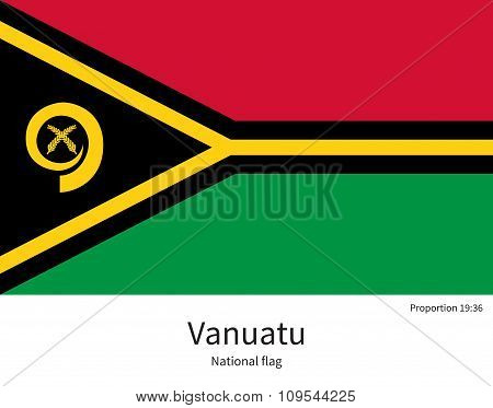 National flag of Vanuatu with correct proportions, element, colors