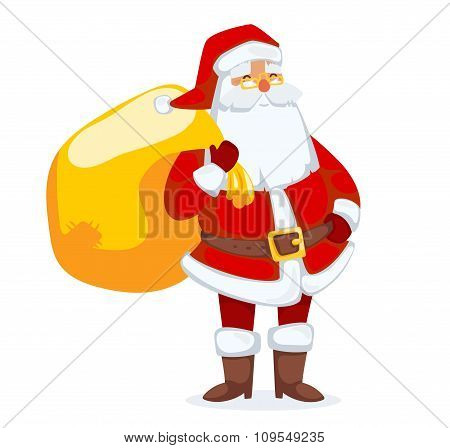 Santa Claus vector illustration. Cartoot old man with red hat and sack
