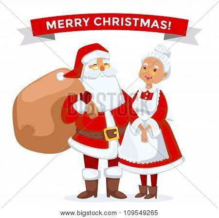 Santa and Missis Claus cartoot family vector