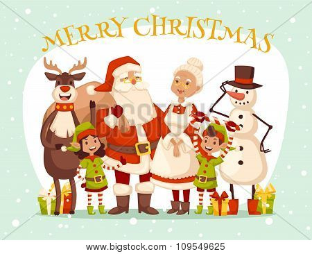 Santa Claus wife and kids cartoot family vector
