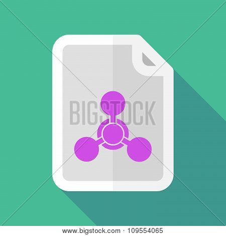 Long Shadow Document Vector Icon With A Chemical Weapon Sign