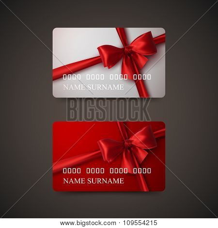 Gift Cards With Red Bow And Ribbon.