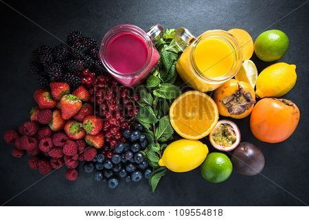 Tropical Fruit And Berries Fruit Smoothies