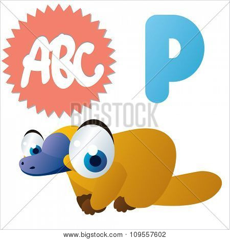 Australian funny cute animals cartoons alphabet: P is for Platypus