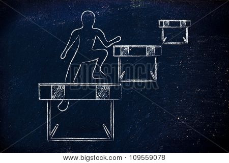 Person Successfully Jumping Over Obstacles