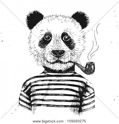 Hand drawn Illustration of dressed up hipster panda with pipe