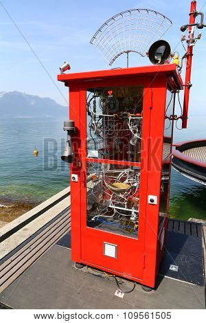 Montreux, Switzerland - 9 June, 2014: Allo Claude art installation by Pascal Bettex at Quai de la Rouvenaz near the statute of Freddie Mercury on the banks of Lake Geneva Swiss Riviera Montreux Switzerland