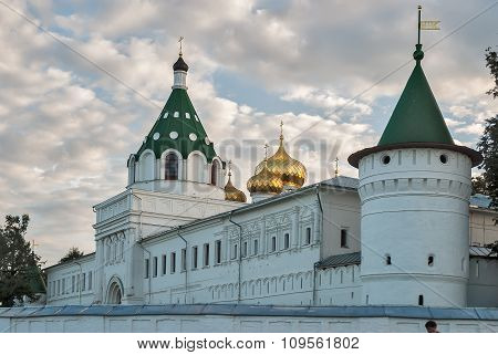The Ipatiev Monastery on bank of Kostroma river in twilight, Russia poster