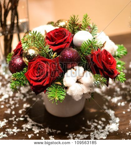 Christmas Bouquet With Roses, Fir, Christmas Tree Balls And Artificial Snow