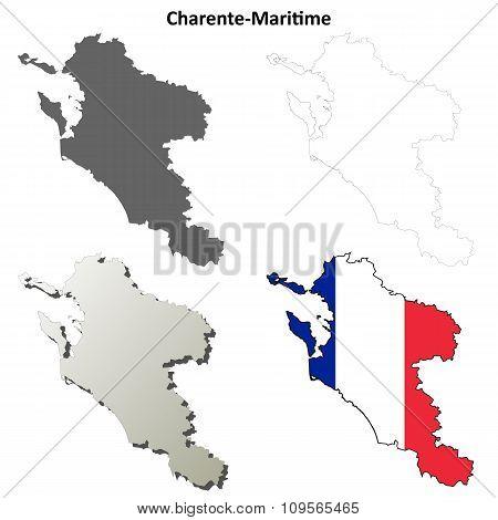 Charente-Maritime, Poitou-Charentes outline map set