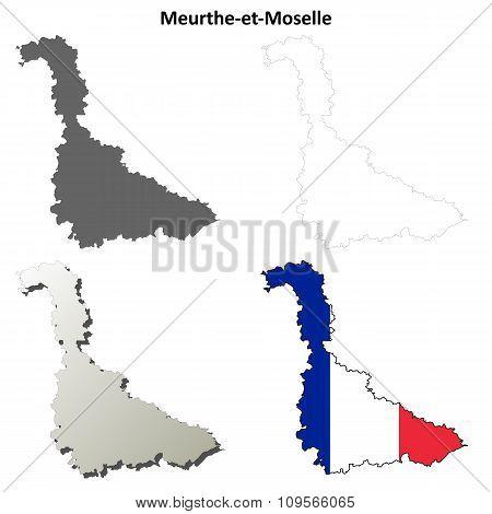 Meurthe-et-Moselle, Lorraine outline map set