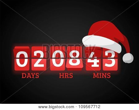 Christmas clock timer digits board panels. Website New Year timer counter. Christmas soon. New year, Christmas website timer. Vector timer. Vector website Christmas start timer. New Year time