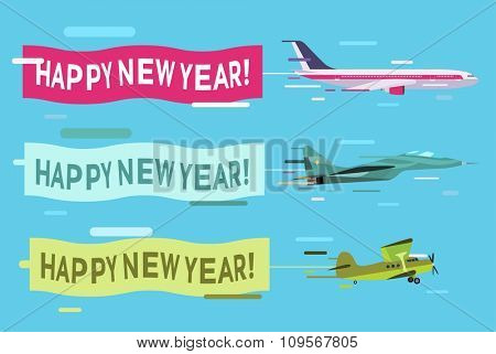 Plane flying with Merry Christmas banners. Christmas, New Year planes banners. Plane flying Christmas greeting Card. Plane vector, plane isolated, plane silhouette. Christmas, New Year greeting card