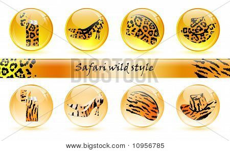 set of different glossy balls with different object in it poster