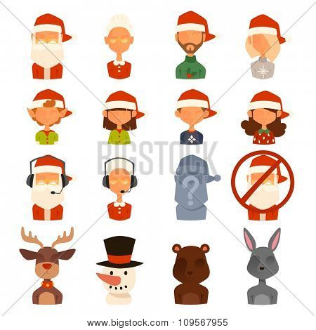 Santa Claus, Missis Claus, kids family vector avatars. Santa Clau, Missis Claus cartoot peopl face avatars. Christmas people traditional costume. New Year avatars isolated. Christmas avatars icons